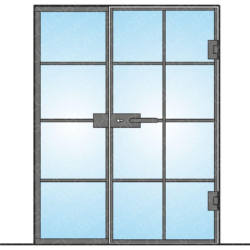 Drzwi szklane otwierane z częścią stałą LOFT (z ramką i szprosami) mocowane do ściany (na wymiar)