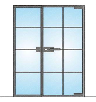Drzwi szklane otwierane z częścią stałą LOFT (z ramce i szprosami) mocowane GÓRA/DÓŁ (na wymiar)