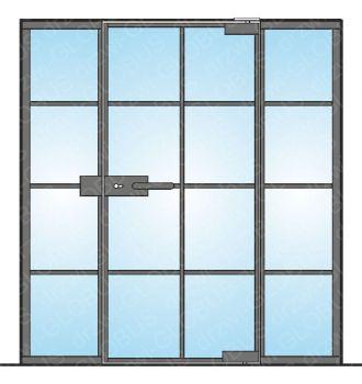 Drzwi szklane otwierane jednoskrzydłowe LOFT (w ramce i szprosami) mocowane GÓRA/DÓŁ + dwa doświetla (na wymiar)