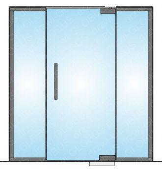 Drzwi szklane wahadłowe mocowane GÓRA/DÓŁ LOFT + doświetla boczne (na wymiar)