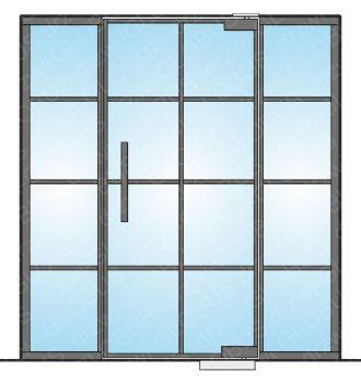 Drzwi szklane wahadłowe mocowane GÓRA/DÓŁ LOFT (ramka + szprosy) + doświetla boczne (na wymiar)