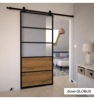 Drzwi szklane przesuwne system LOFT CLASSIC 4 (szkło + drewno)