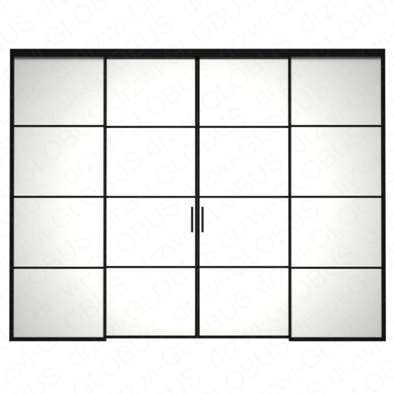Drzwi szklane LOFT 1 v1 dwuskrzydłowe + części stałe (szprosy) 3
