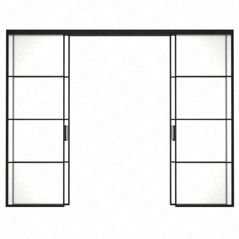 Drzwi szklane LOFT 1 v1 dwuskrzydłowe + części stałe (szprosy)