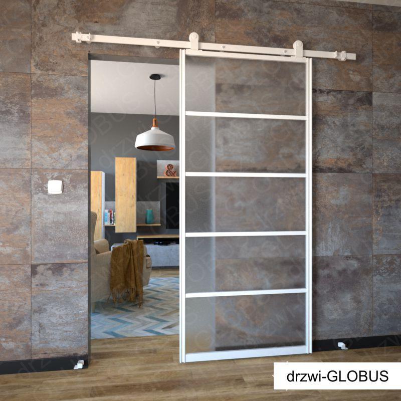 Drzwi szklane przesuwne system LOFT CLASSIC 4 (biały)