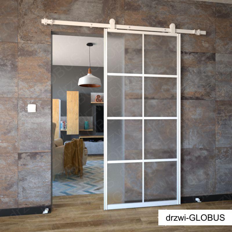 Drzwi szklane przesuwne system LOFT CLASSIC (biały)