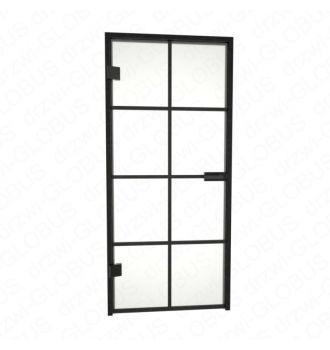 Drzwi szklane otwierane LOFT + szprosy + czarna futryna (na wymiar)