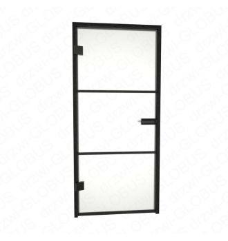 Drzwi szklane otwierane LOFT + szprosy poziome + czarna futryna (na wymiar)