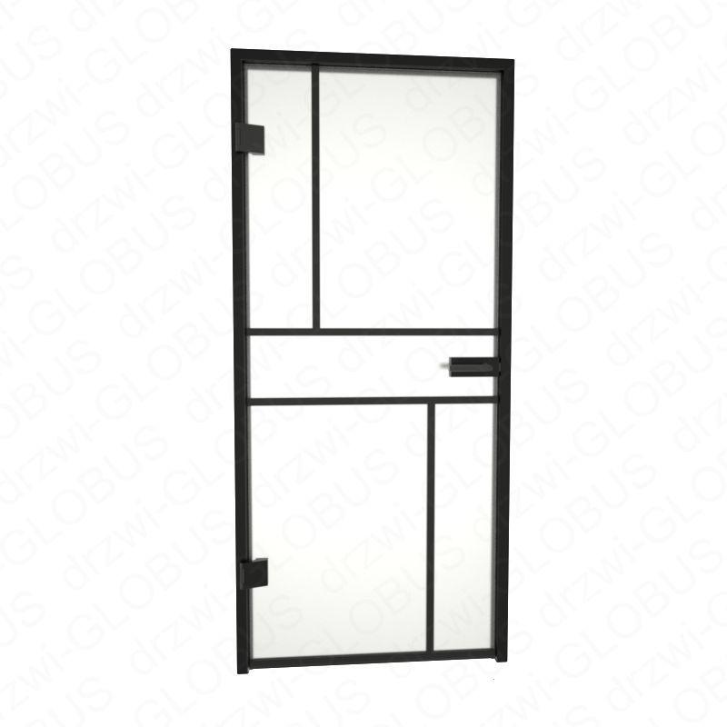 Drzwi szklane otwierane LOFT + szprosy poziome N + czarna futryna (na wymiar)