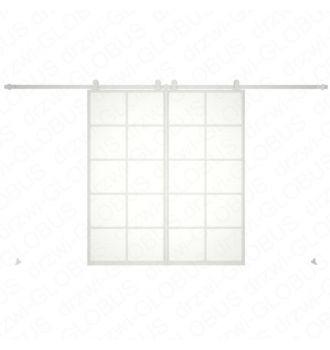 Drzwi szklane przesuwne system LOFT CLASSIC 4P dwuskrzydłowy (biały)