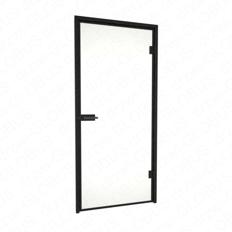 Drzwi szklane otwierane LOFT + ramka + czarna futryna (na wymiar) zamknięte