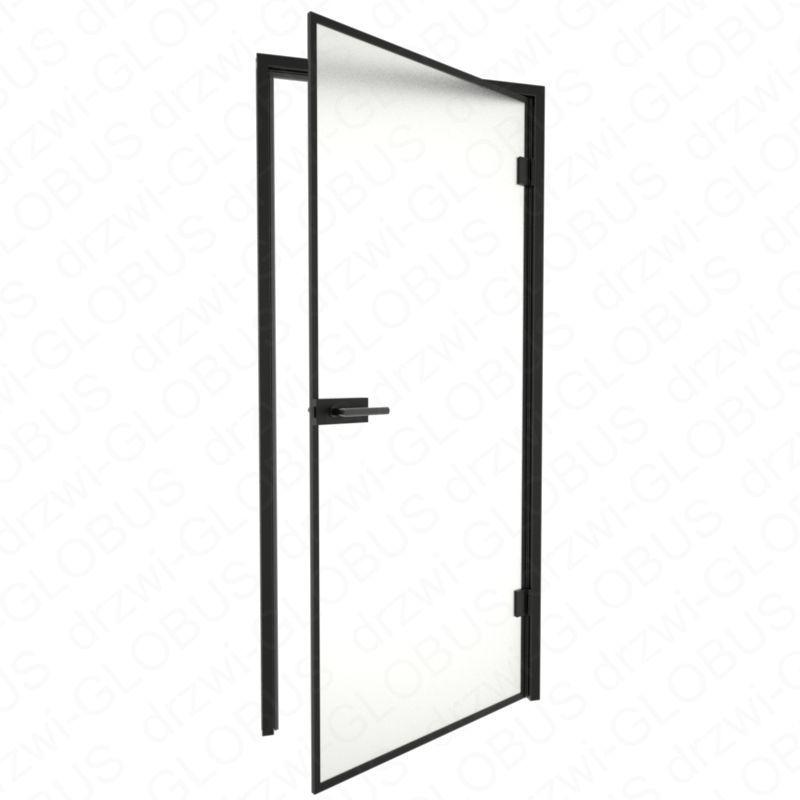 Drzwi szklane otwierane LOFT + ramka + czarna futryna (na wymiar)