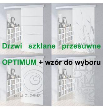 Drzwi szklane przesuwne system OPTIMUM + wzór do wyboru