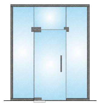 Drzwi szklane wahadłowe mocowane GÓRA/DÓŁ LOFT + naświetle górne + doświetla boczne (na wymiar)