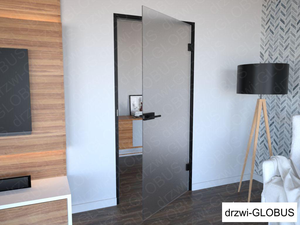 Drzwi szklane otawierane w futrynie aluminiowej czarnej 1