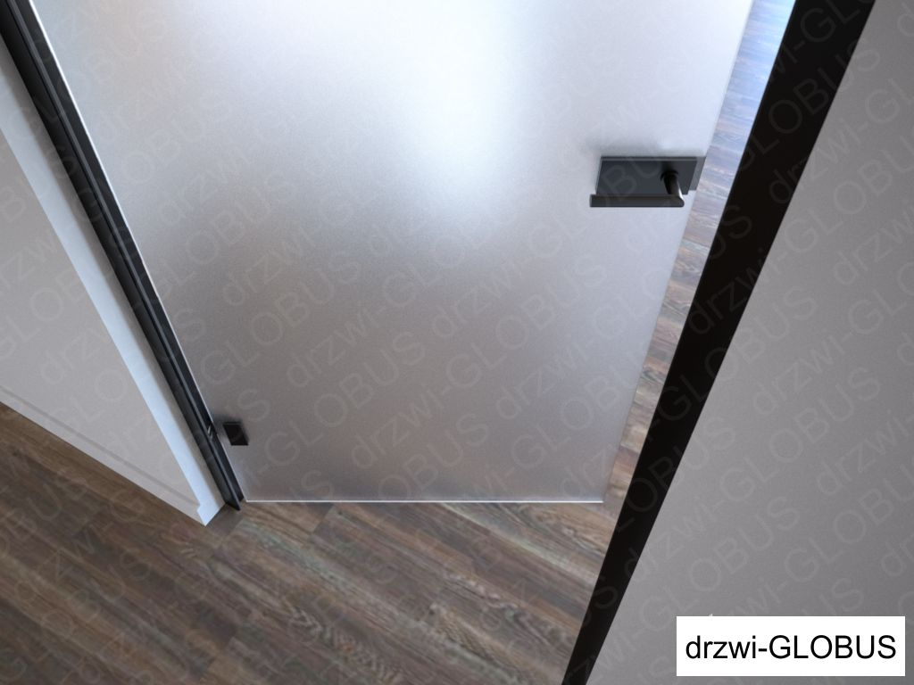 Drzwi szklane otawierane w futrynie aluminiowej czarnej, ujęcie z drugiej strony