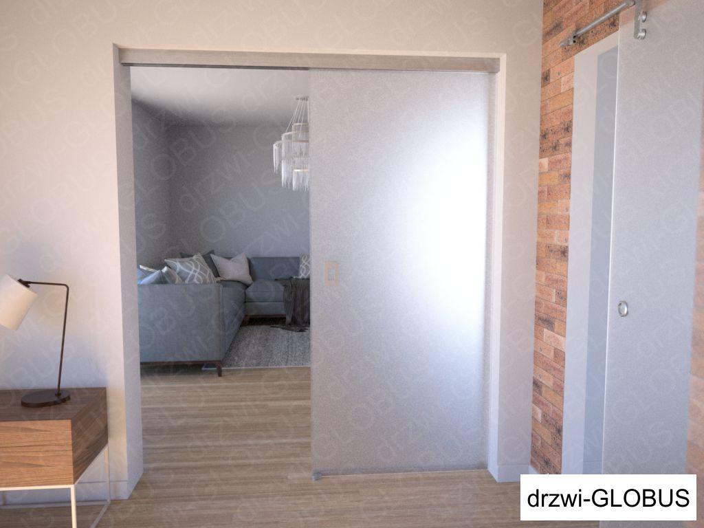 Drzwi szklane przesuwne system PRESTIGE + doświetle - otwarte