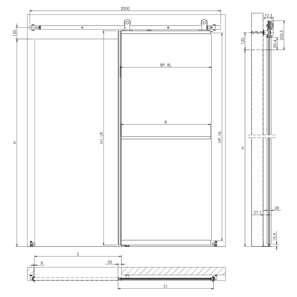 Wymiary techniczne systemu LOFT CLASSIC do drzwi szklanych przesuwnych