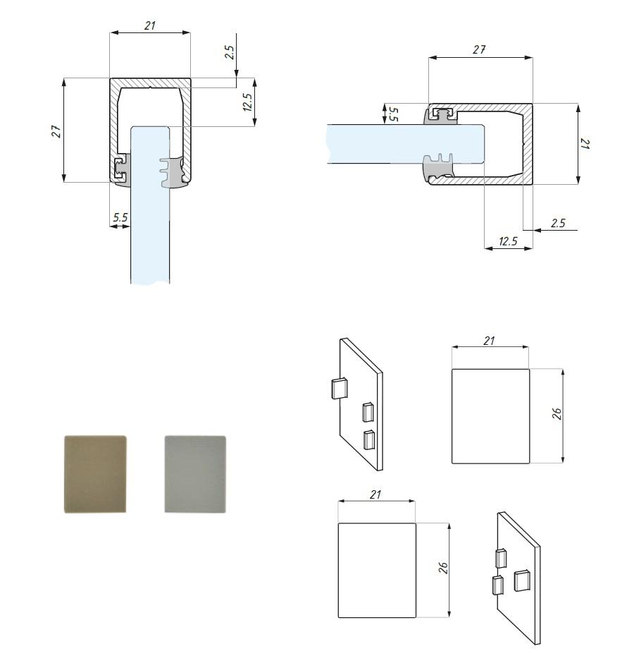 Listwa montażowa dolna dla panela stałego, wysokość profila 27mm
