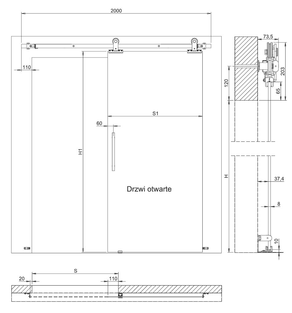 Wymiary techniczne systemu OPTIMUM do drzwi szklanych przesuwnych