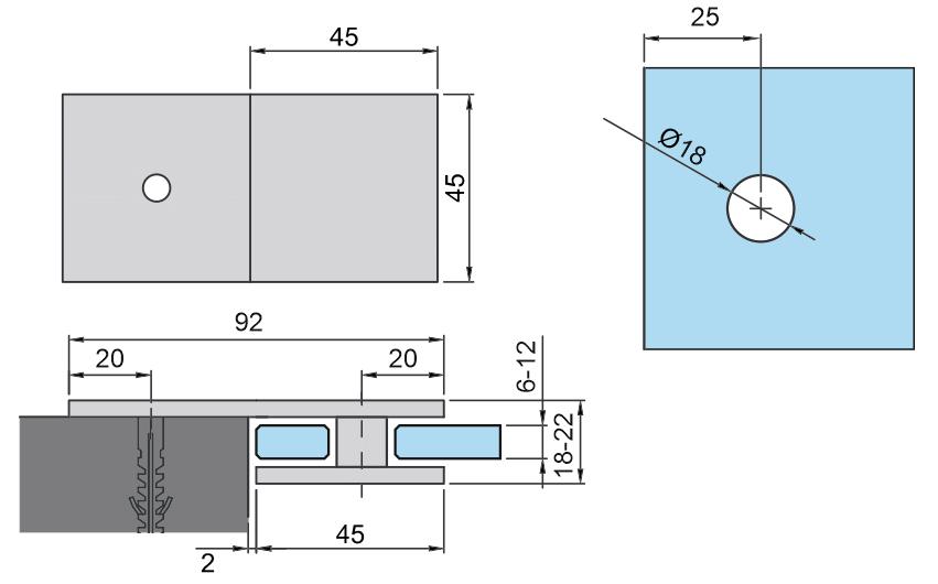 Mocowanie punktowe - 180s szkło/ściana