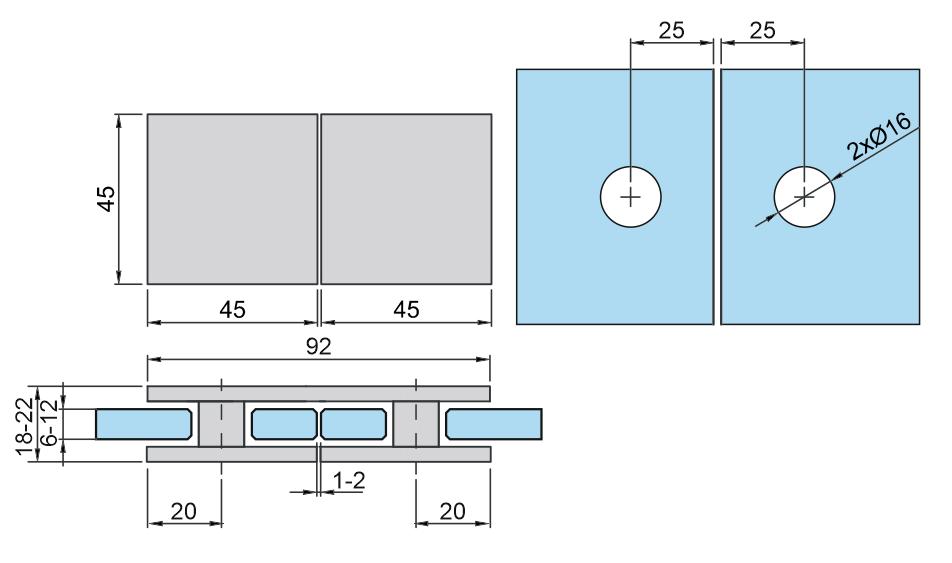 Mocowanie punktowe - 180s szkło/szkło