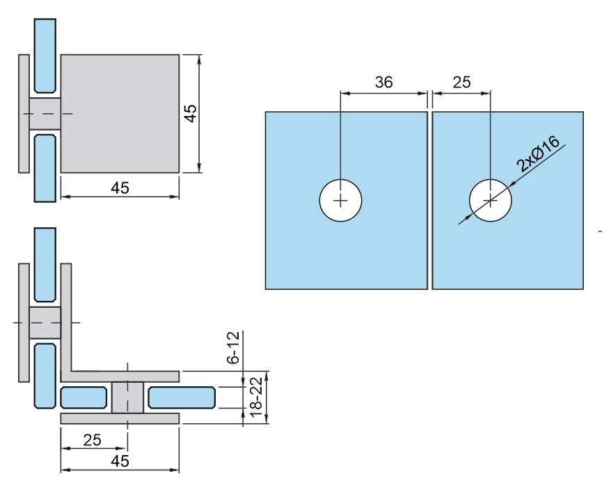 Mocowanie punktowe - L 90s szkło/szkło
