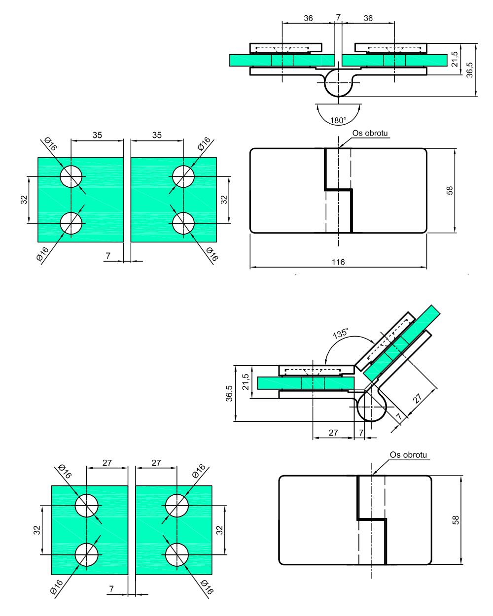 Zawias prysznicowy unoszony Lewy - 180s/135s