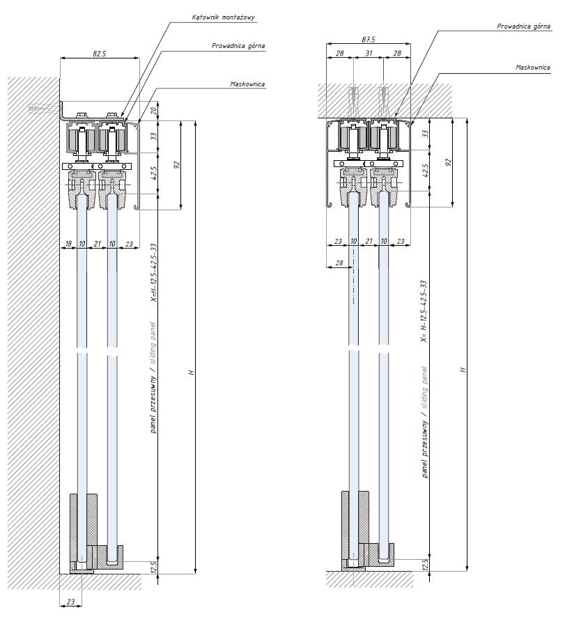Wymiary techniczne systemu DUO do drzwi szklanych przesuwnych