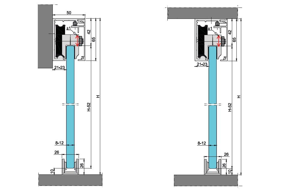 Wymiary techniczne systemu PRESTIGE do drzwi szklanych przesuwnych
