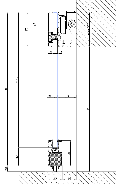 Wymiary techniczne systemu PRIMO 2 do drzwi szklanych przesuwnych