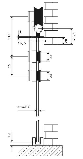 Wymiary techniczne systemu RUROWY 1 do drzwi szklanych przesuwnych